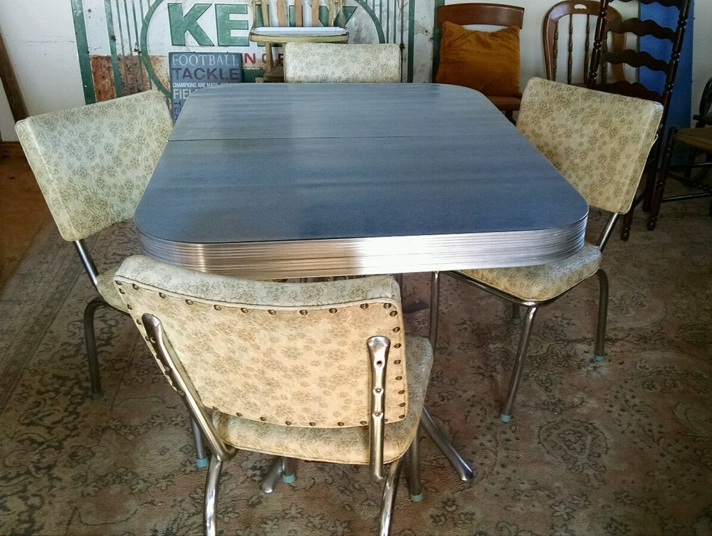 retro 1950's chrome  formica kitchen table with 4 vinyl