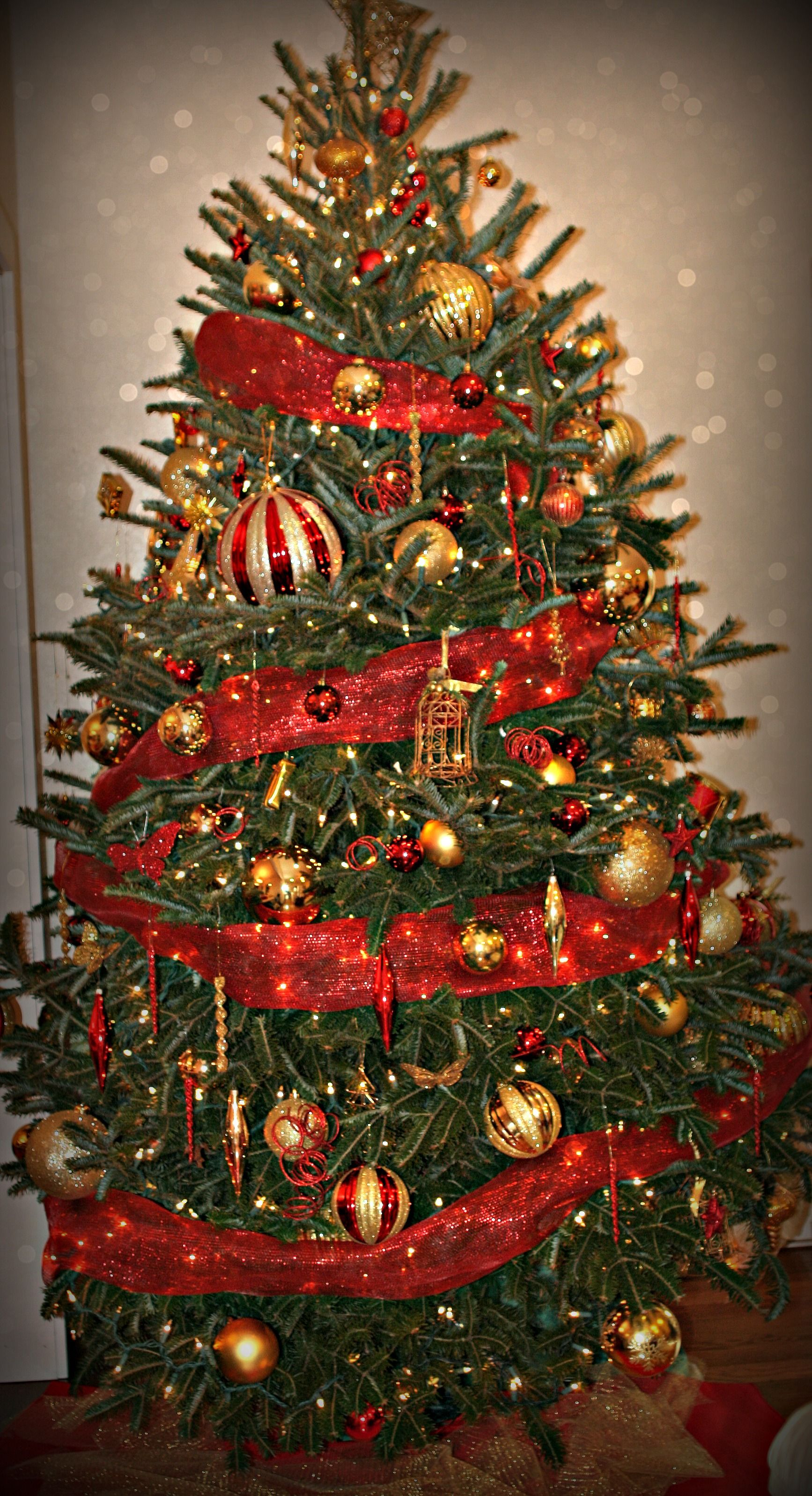 christmas holiday tree traditional with red and gold accents holiday decorating services by a