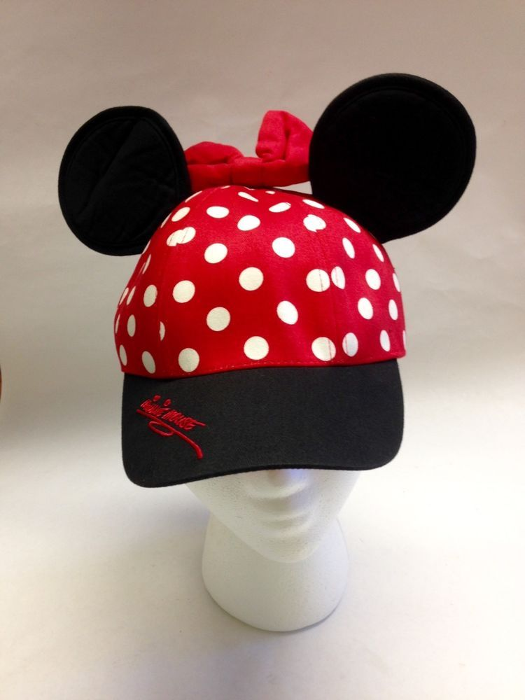 disneyland minnie baseball cap mouse ears bow youth girls hat polka dots d resort