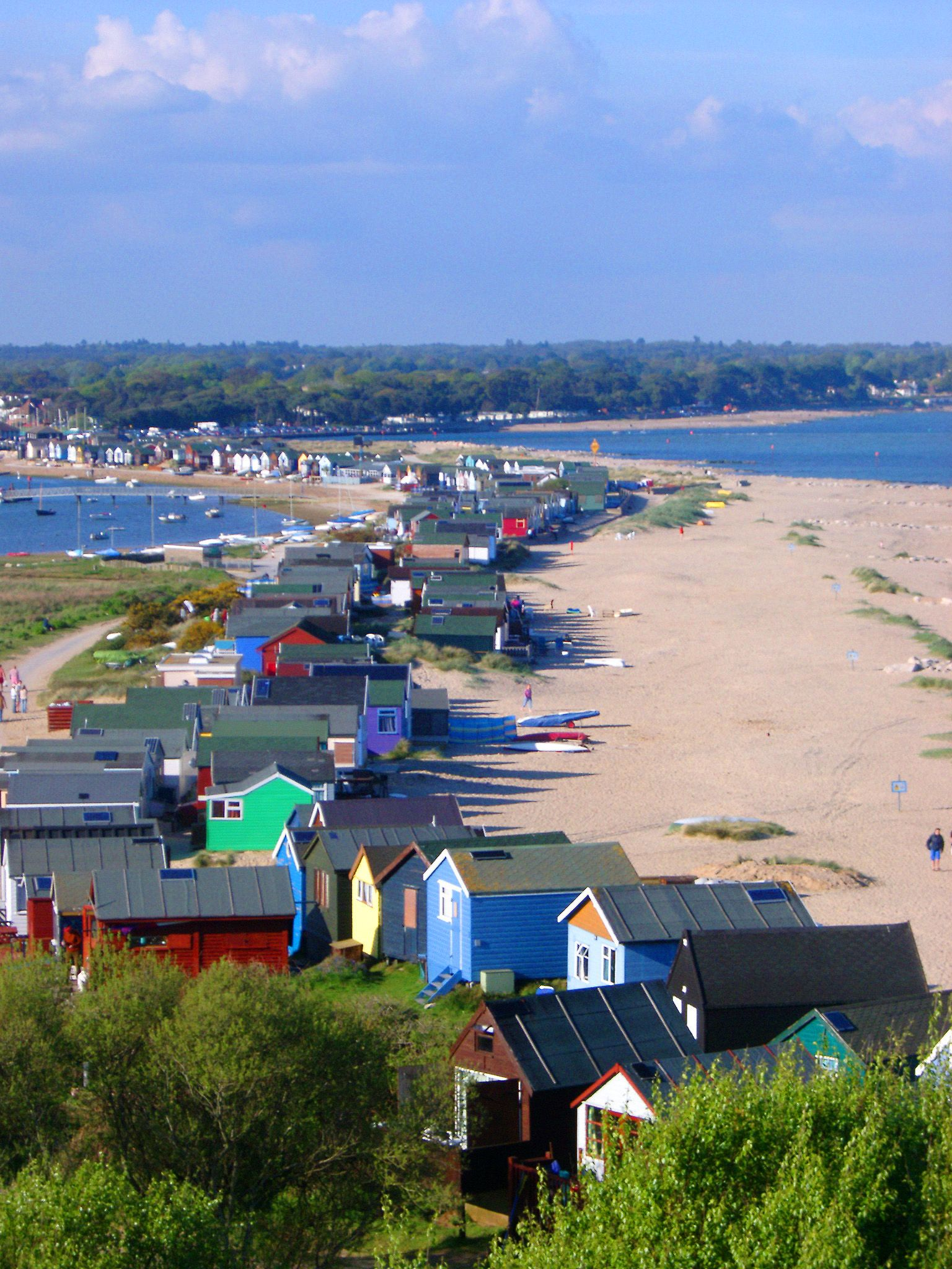 Mudeford Spit and beach huts, near Christchurch, Dorset