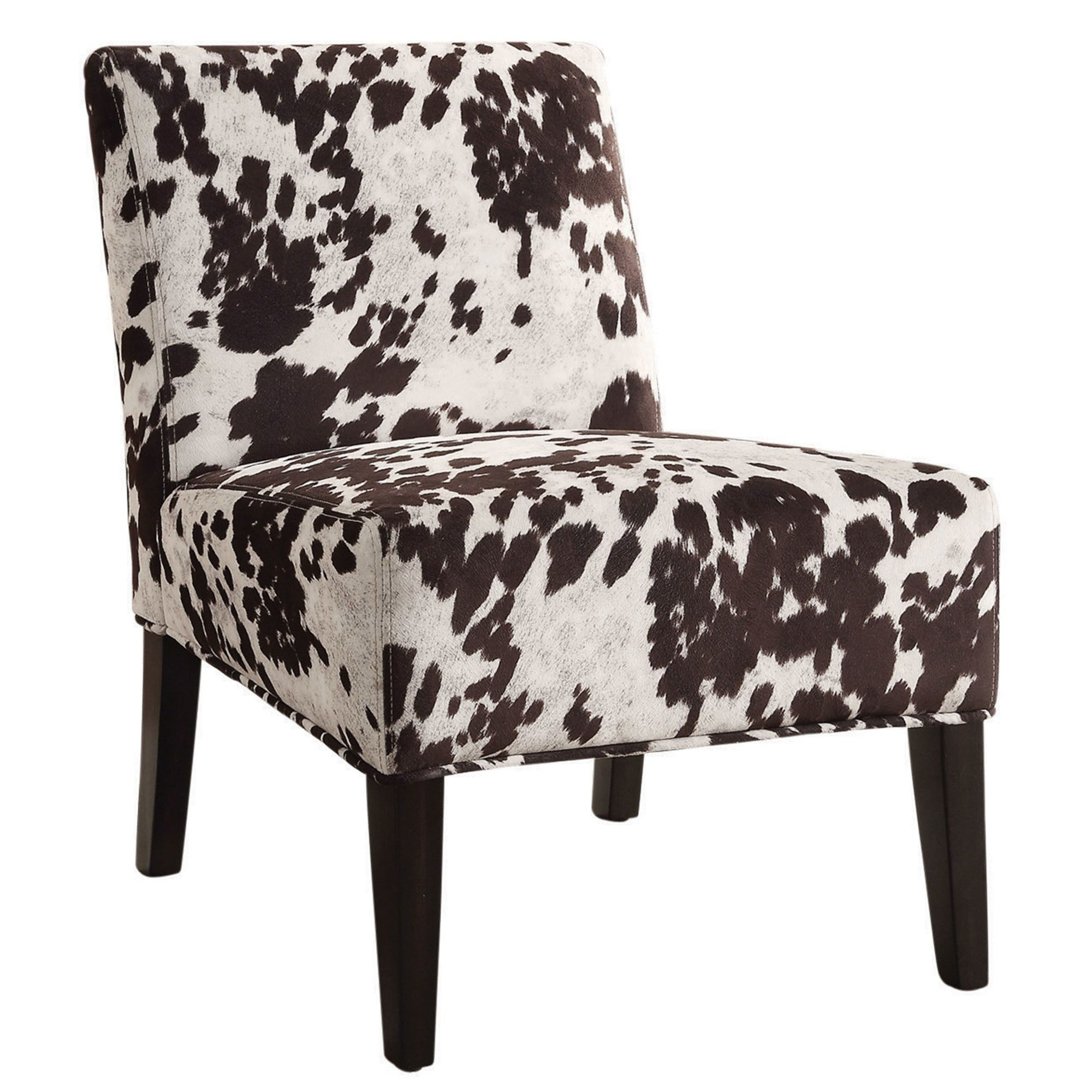 Angus Faux Cowhide Accent Chair Fabric Accent Chair Accent