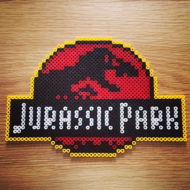 jurassic park perler beads by marcusgavinbaker etamin tablo yast k rh pinterest com Jurassic Park Lunch Box Kenner Jurassic Park Box
