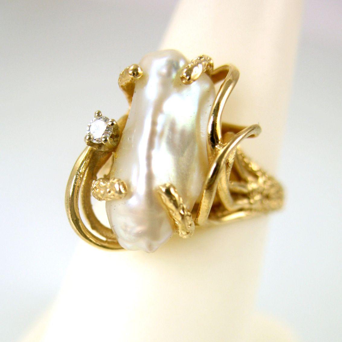 Baroque pearl rings | Modernist 14k Gold Ring Biomorphic Baroque Pearl Diamond