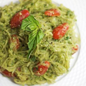 Free of nuts, dairy and oils, this Avocado Pesto Sauce can be enjoyed on your favorite noodles and veggies! Paleo and vegan friendly.