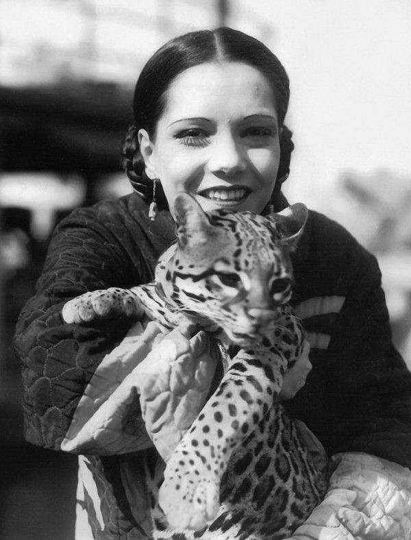 Lupe Velez with an Ocelot
