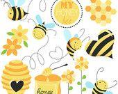 DESCARGAR INSTANT Honey Bee Digital Clipart - Scrapbooking, diseño de tarjetas, invitaciones, fotomatón, diseño web