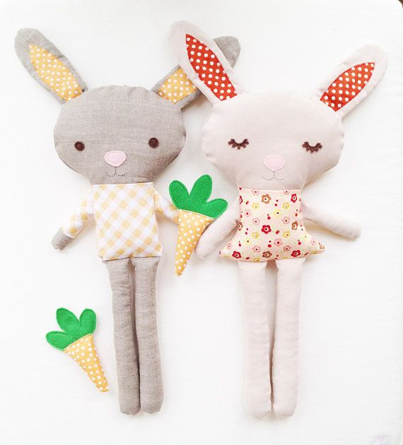 Bunny Sewing Pattern - Bunny Doll Pattern - Boy Bunny Girl Bunny With Carrot - PDF. via Etsy.