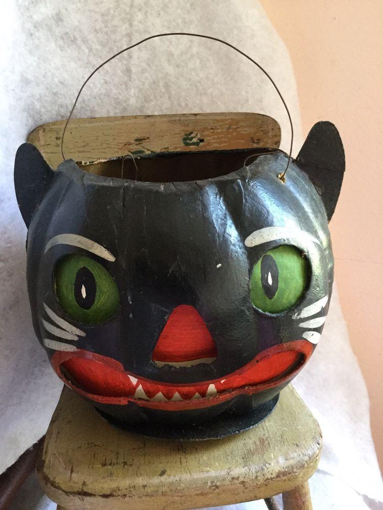 Rare Large German Black Cat Pumkin Head Lantern W Ears Red Lips