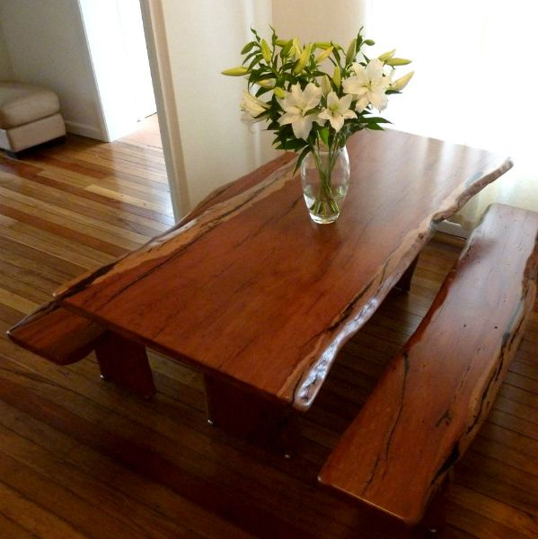 River Red Gum Dining Table With Bench Seats
