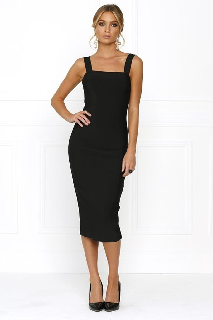 1e0b1e4a0e Honey Couture KAYLA Black Thick Strap Midi Bandage Dress