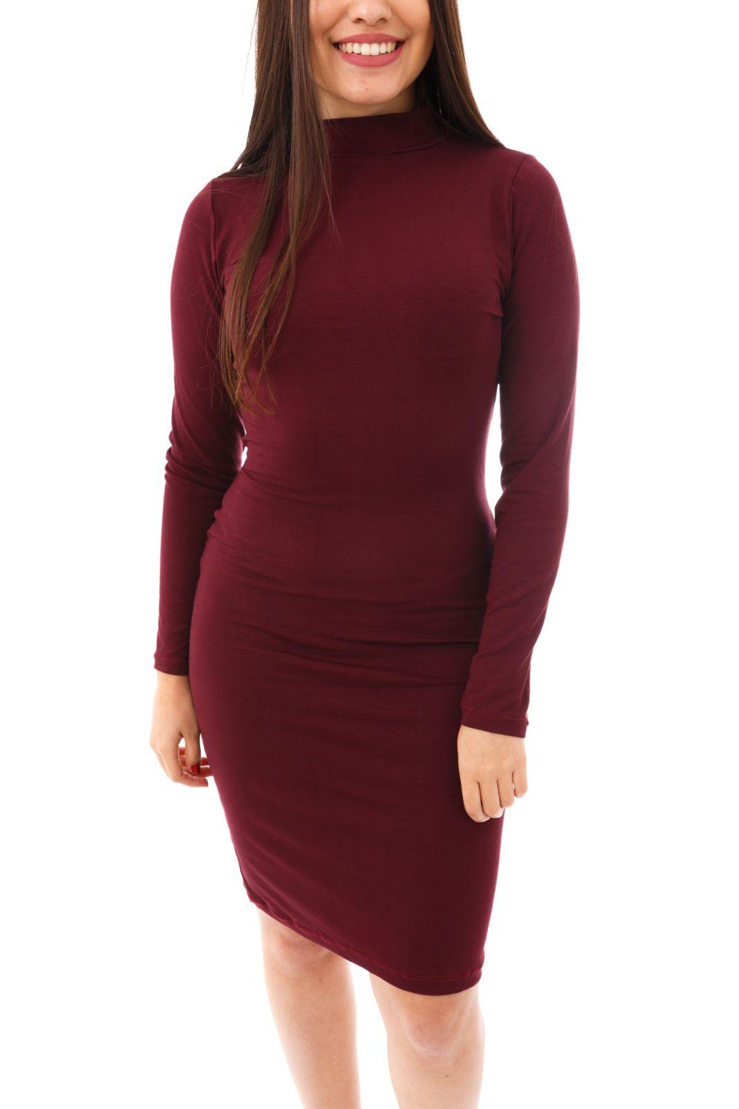 Vestido Moda Vício Midi Gola Alta Manga Longa Vinho