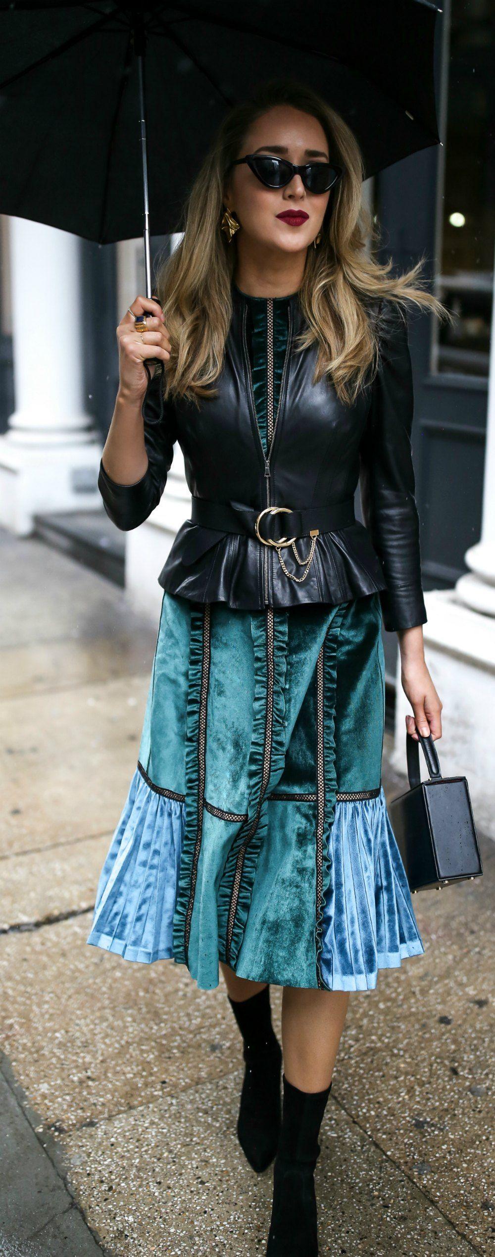 Velvet Dress + Leather Jacket Velvet clothes, Spring