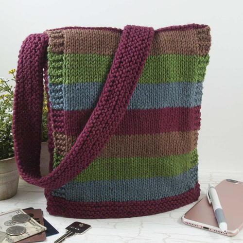 Easy Knit Messenger Bag   Bag pattern free, Knitting ...