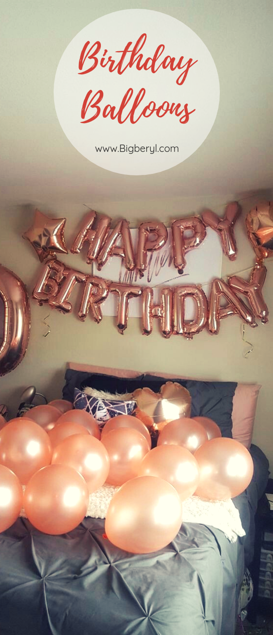 Happy Birthday Balloons Decorations Banner In Silver Gold Rose Red Blue