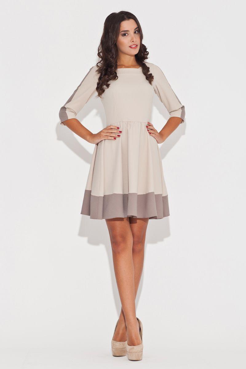 694ddfd698 Dwukolorowa rozkloszowana sukienka z dopasowana górą