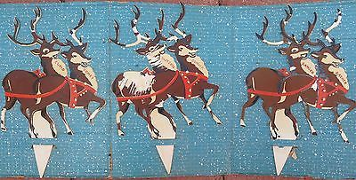 Santa And Reindeer Yard Stakes Vintage 1940 50 S Christmas Decorations