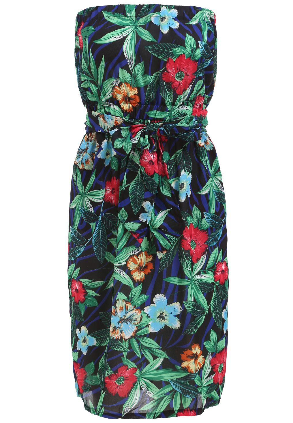 Navy Strapless Floral Belt Chiffon Dress 17.00