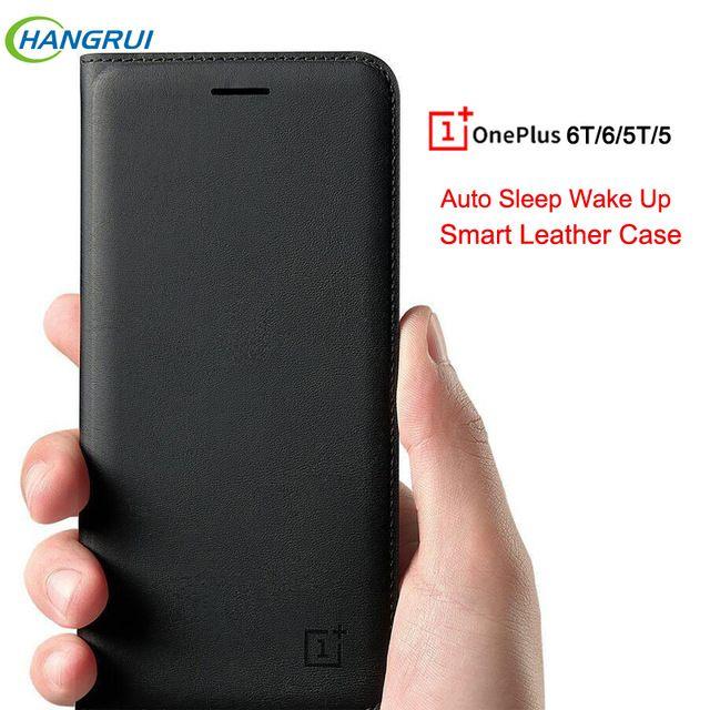 newest 20d85 fa1ae Original Oneplus 6T Case Luxury Smart Auto Sleep Wake Up Phone Cover ...