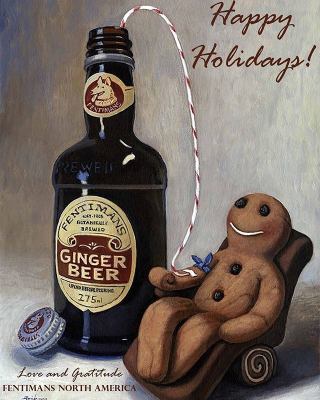 Gingy can't get enough Fentimans Ginger Beer! Wishing you all a Happy Holidays!! #gingerbeer #gingerbreadman #happyholidays #december