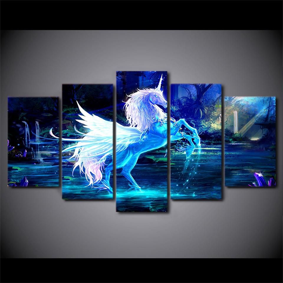48e17970619ed HD Printed 5 piece canvas sets art unicorn horse Painting canvas ...