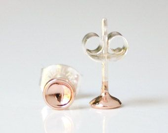 Tiny Rose Gold Moon Stud Earings - Pink Gold Hemisphere Earrings - Second Hole Studs - Lightweight Everyday Earrings - Gift Under 50