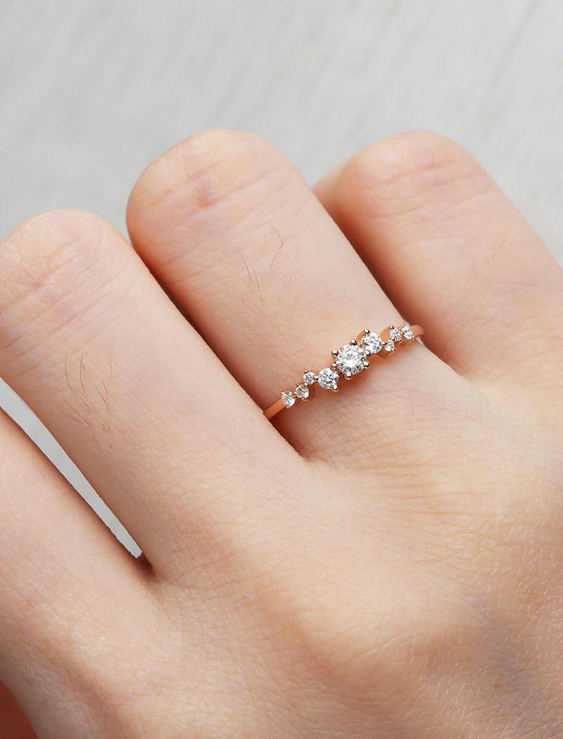 Rose Gold Engagement Ring Diamond Cluster ring Flower Wedding Mini ...