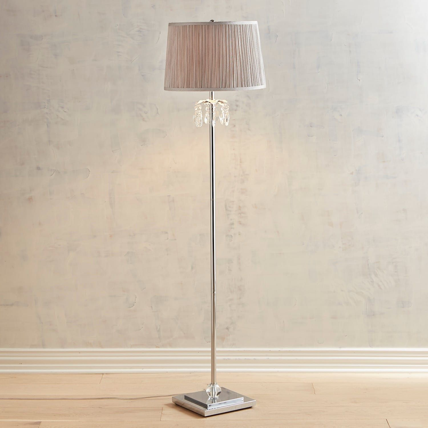 Tina Crystal Bead Gray Floor Lamp Floor Lamp Contemporary Floor
