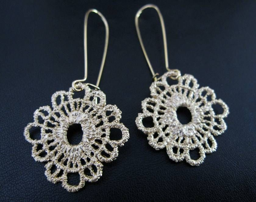 Matte Gold Lace Doily Earrings | Felt Matte gold lace doily earrings | Felt - Animals and pets