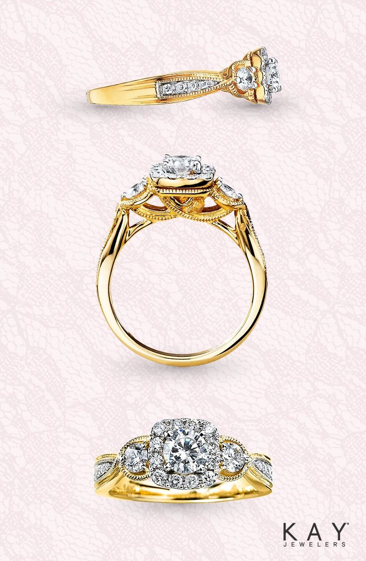91825f461 Miligrain details beautifully complement this stunning yellow gold engagement  ring.