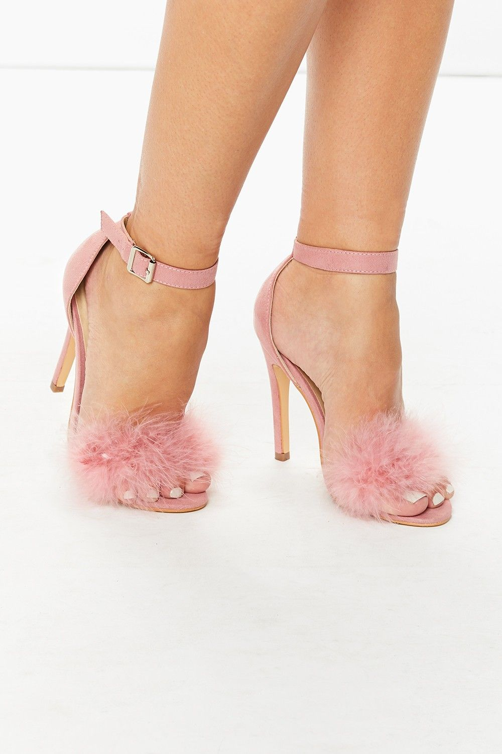 Helena Pink Feather Barely There Heeled