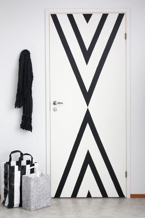 Geometric door pattern using tape