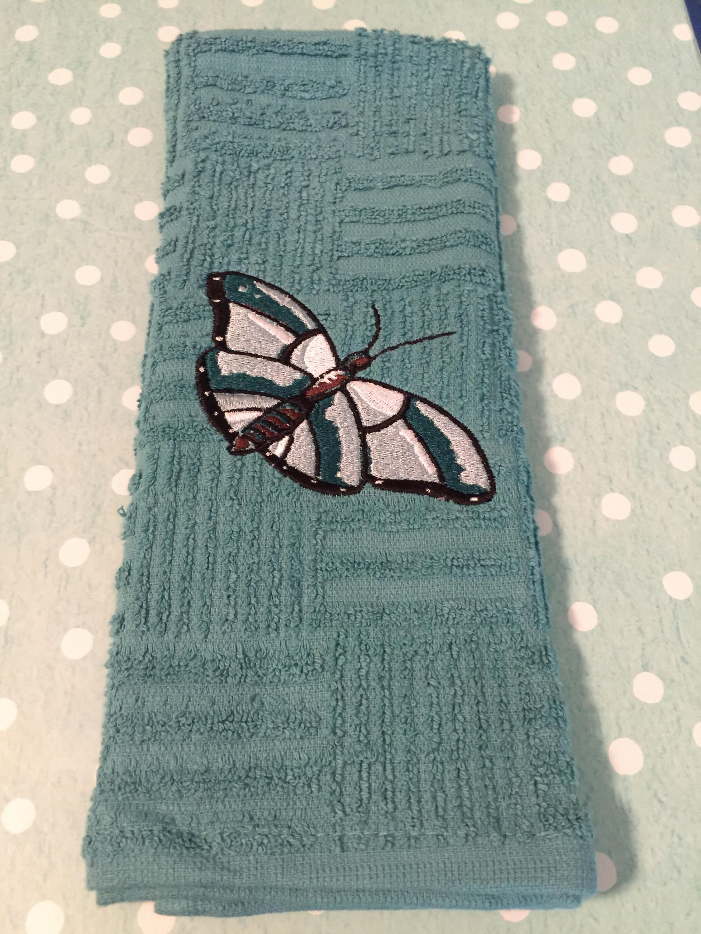 embroidered butterfly kitchen toweldsdesignsunlimited on etsy