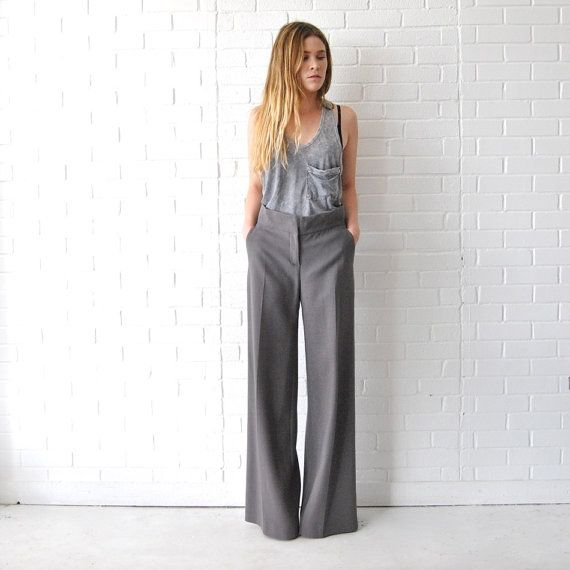 FENDI Wide Leg Pants // Grey Palazzo Pants // 90s by JACKNBOOTS ...