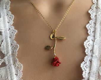 Rose Necklace Silver Pink Rose Yellow Rose Red Rose Initial Necklace