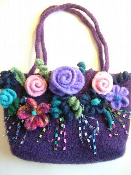 Flores | Bolsos | Pinterest | Tasche stricken, Filzen und Filz