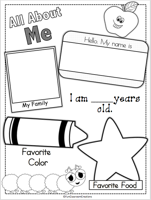 Terrible image within all about me preschool printable