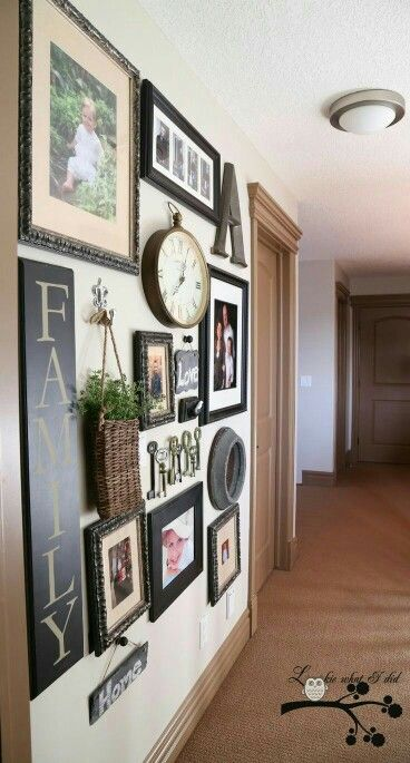 Large Wall decor. Love the mix of photos with clocks and keys ...