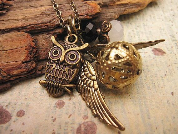 Ornate Golden Snitch Necklace with crystals by trinketsforkeeps, $9.99