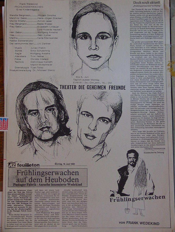 """""""Bühnenbild zu Frank Wedekinds """"Frühlingserwachen"""" Gemalt von Emo Schuschnig in der Pasinger Fabrik 1990"""