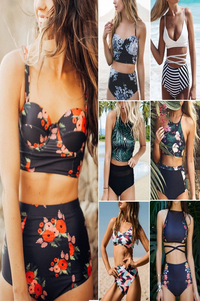 153174eb3bde1 11.15 | Women Floral Bikini Set Push Up Padded High Waist Swimwear Swimsuit  Bathing Suit ❤ #women #floral #bikini #push #padded #high #waist #swimwear  ...