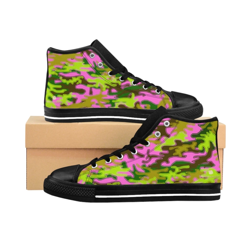 Pink Green Camouflage Army Military Print Men's High-top Sneakers Tennis Shoes