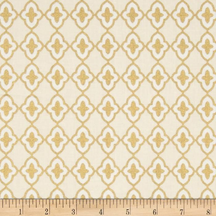 Moda Chandelier Metallic Medallions Snow from @fabricdotcom  Designed by Studio M for Moda Fabrics, this cotton print fabric is perfect for quilting, apparel and home decor accents. Colors include cream and white with metallic gold accents.