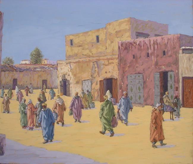 scène à missour n007 - Painting,  70x82 cm ©2009 by Abdelhakim Chababi -                        Figurative Art