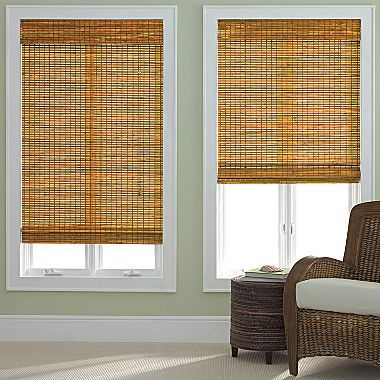 Oak Bamboo Shades For Large Windows In Front Of House With Curtains
