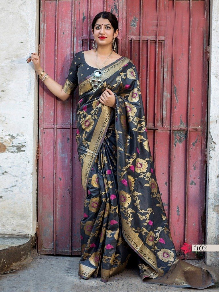 682f208430 Fantastic Banarasi Silk Embroidered Party Wear Saree in 2019 ...