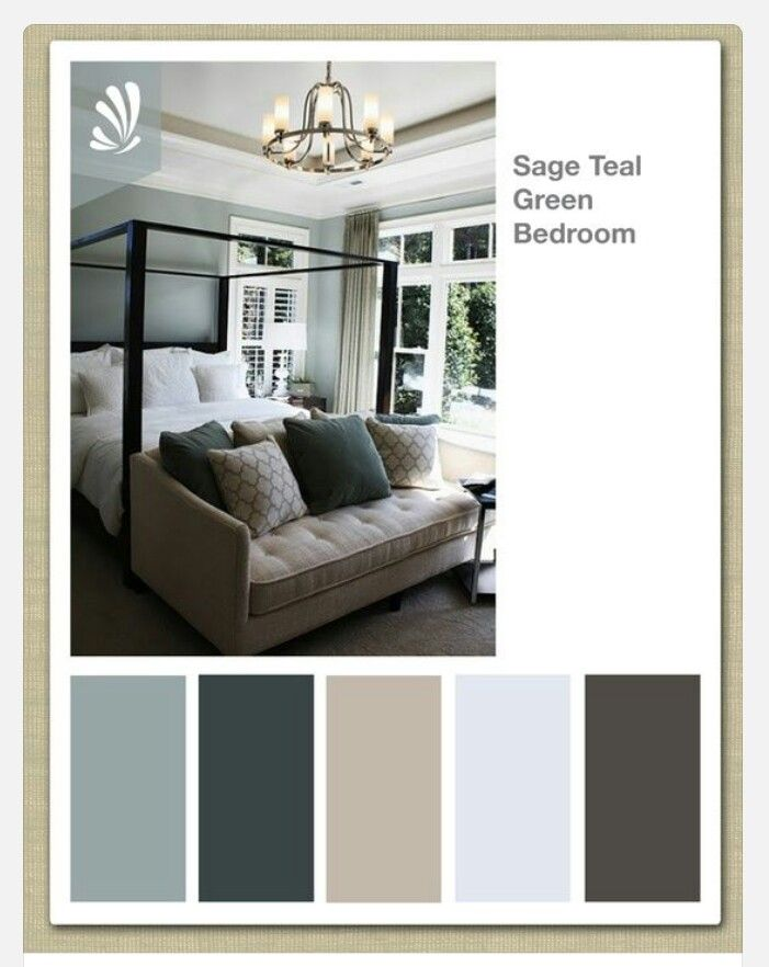 Delightful Sage, Cream, Oil Gray And Teal Green Color Palette. Soothing Bedroom Colors  For Samuel