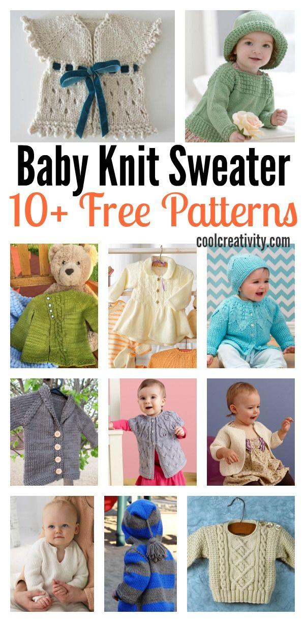 10+ Free Baby Sweater Knitting Patterns | Tejido, Para bebés y Para ...