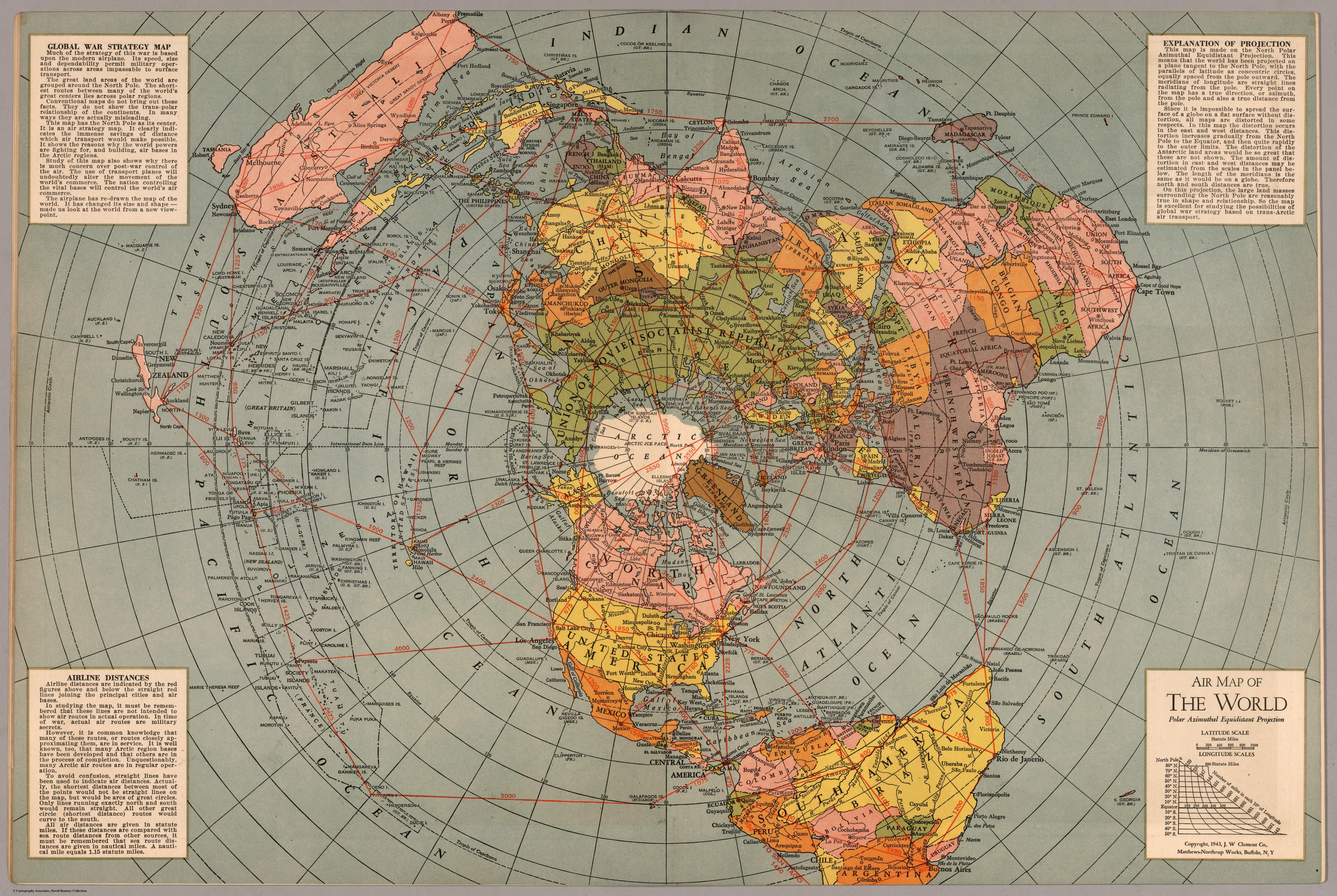 Air Map of the World Polar Azimuthal