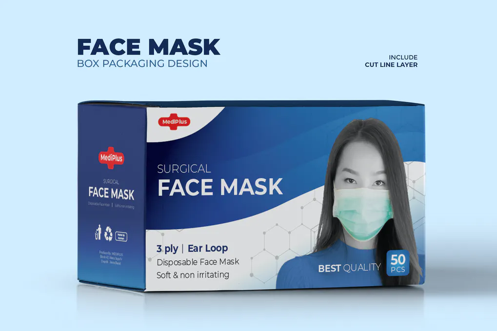 Download 25 Face Mask Mockup Templates For Photoshop Design With Red Packaging Template Box Packaging Templates Blue Face Mask