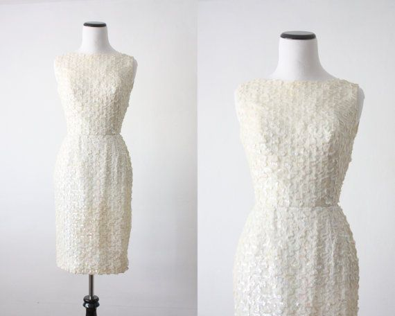 1960s wiggle dress  white sequin dress by Thrush on Etsy, $142.00